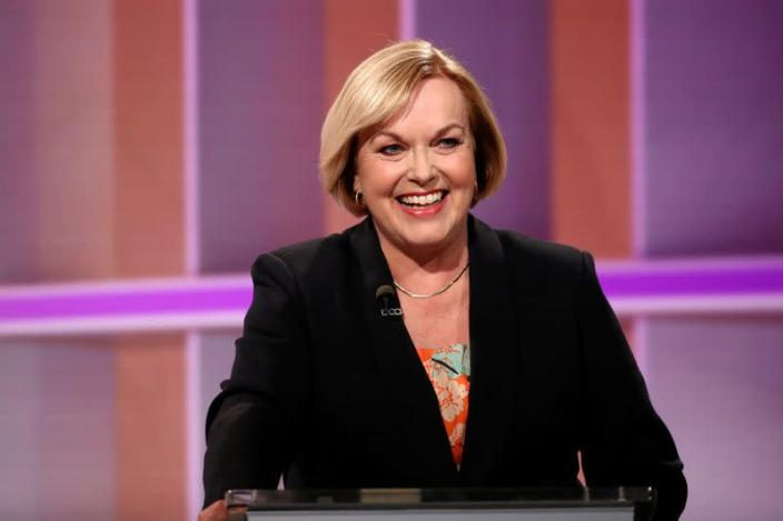 FILE PHOTO: National leader Collins participates in a televised debate in Auckland