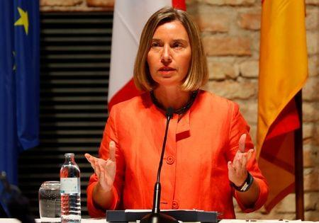 European Union foreign policy chief Mogherini reads a statement in Vienna