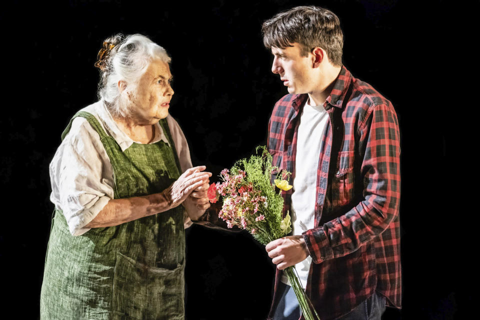 """This image released by Polk & Co. shows Lois Smith and Samuel H. Levine in """"The Inheritance."""" (Matthew Murphy/Polk & Co. via AP)"""