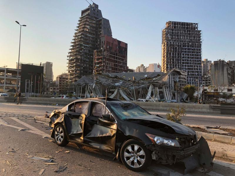 Damaged vehicle and buildings are pictured near the site of Tuesday's blast in Beirut's port area, Lebanon August 5, 2020: Reuters