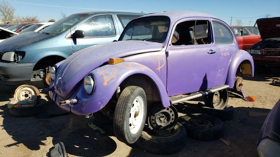 """<p>Production of the <a href=""""https://en.wikipedia.org/wiki/Volkswagen_Beetle"""" rel=""""nofollow noopener"""" target=""""_blank"""" data-ylk=""""slk:original Volkswagen Type 1 Beetle"""" class=""""link rapid-noclick-resp"""">original Volkswagen Type 1 Beetle</a> began in Germany in 1938 and continued all the way through the very last <a href=""""https://www.youtube.com/watch?v=JiduzCiB3Yo"""" rel=""""nofollow noopener"""" target=""""_blank"""" data-ylk=""""slk:Volkswagen Sedán Última Edición"""" class=""""link rapid-noclick-resp""""><em>Volkswagen Sedán Última Edición</em></a>, which rolled off the assembly line in Mexico in 2004. In the United States, <a class=""""link rapid-noclick-resp"""" href=""""https://www.autoblog.com/volkswagen/beetle/"""" data-ylk=""""slk:Beetle"""">Beetle</a> convertibles could be purchased new through 1979, but 1977 was the final model year for the regular Beetle sedan on these shores. Even in the current century, I <a href=""""http://www.murileemartin.com/Junkyard/JunkyardGallery-Volkswagen.html"""" rel=""""nofollow noopener"""" target=""""_blank"""" data-ylk=""""slk:find a few Super Beetles"""" class=""""link rapid-noclick-resp"""">find a few Super Beetles</a> each year during <a href=""""http://www.murileemartin.com/JunkyardGalleryHome.html"""" rel=""""nofollow noopener"""" target=""""_blank"""" data-ylk=""""slk:my junkyard journeying"""" class=""""link rapid-noclick-resp"""">my junkyard journeying</a>, but true full-torsion-bar-suspension Beetles have become rare car-graveyard finds in recent decades; I was pleased to find this '74 in a yard in northeastern Colorado. <a href=""""https://www.autoblog.com/2019/11/03/junkyard-gem-1974-volkswagen-beetle/"""" data-ylk=""""slk:Read more"""" class=""""link rapid-noclick-resp""""><em>Read more</em></a>.</p>"""