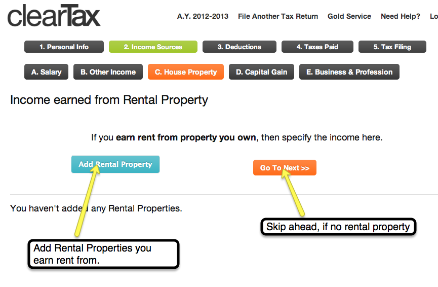 8. Similarly, if you have a Rental Property from which you earn Rent, you can add this information. Skip ahead if you don't own a rental property.