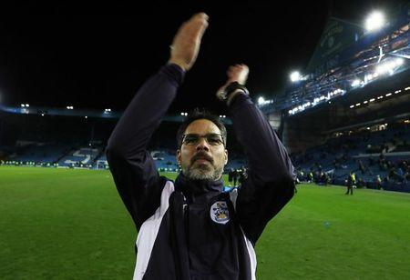 Britain Football Soccer - Sheffield Wednesday v Huddersfield Town - Sky Bet Championship Play Off Semi Final Second Leg - Hillsborough - 17/5/17 Huddersfield Town manager David Wagner celebrate after winning the penalty shoot out and  match  Action Images via Reuters / Jason Cairnduff Livepic