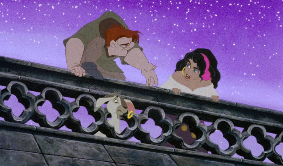 """<p>I didn't watch this movie a ton growing up, but I remember being entranced by the living gargoyles that kept Quasimodo company in the Notre Dame cathedral. I also remember <em>hating</em> Frollo and wanting to keep him away from Esmeralda at all costs. (Fun fact: Her character is voiced by Demi Moore.) </p> <p><a href=""""https://www.amazon.com/gp/video/detail/amzn1.dv.gti.0aa9f76c-6119-f504-1f92-430c6ab2bd85?autoplay=1"""" rel=""""nofollow noopener"""" target=""""_blank"""" data-ylk=""""slk:Available for rent on Amazon Prime Video"""" class=""""link rapid-noclick-resp""""><em>Available for rent on Amazon Prime Video</em></a></p>"""