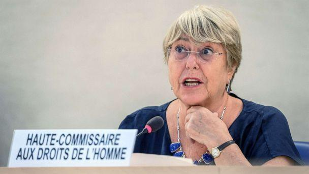 PHOTO: United Nations High Commissioner for Human Rights Michelle Bachelet delivers a speech at the opening of a session of the UN Human Rights Council, Sept, 13, 2021, in Geneva. (Fabrice Coffrini/AFP via Getty Images)