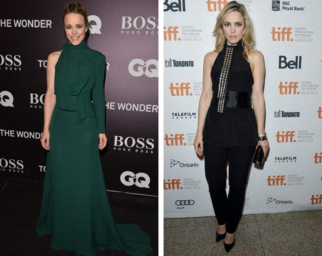 "After months of being off the red carpet, Rachel McAdams had her work cut out for her at TIFF. The 33-year-old Canadian actress <a target=""_blank"" href=""http://ca.omg.yahoo.com/blogs/north-stars/rachel-mcadams-olga-kurylenko-green-twins-tiff-154259625.html"">coordinated in green with her ""To The Wonder"" co-star Olga Kurylenko</a> on Monday's red carpet, and the next day she got gussied up once again for the ""Passion"" premiere, this time <a target=""_blank"" href=""http://ca.omg.yahoo.com/blogs/north-stars/michael-sheen-tries-avoid-rachel-mcadam-spotlight-tiff-150544823.html"">with boyfriend Michael Sheen</a> nearby."