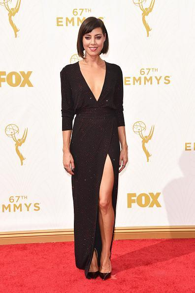 <p>Far from the Parks and Rec department in Pawnee, Aubrey Plaza looked out-of-character in an incredibly sexy Alexandre Vaultier black gown with a plunging neckline and side slit.<br></p>