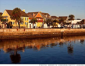 """<b><a target=""""_blank"""" href=""""https://homes.yahoo.com/search/Florida/St_Augustine/homes-for-sale"""">St. Augustine, FL</a></b><br><br><b>Best if you're looking for:</b> Resort area<br><b>Median home price:</b> $156,000<br><b>Top state income tax:</b> None<br><br>Legend has it that explorer Juan Ponce de León set foot in St. Augustine nearly 500 years ago and discovered the elusive fountain of youth. Alas, a move to the city today probably won't turn back the clock (in fact, de León may not have ever been in St. Augustine).<br><br>But St. Augustine's fantastic weather, beautiful beaches, and world-class golf will certainly do a body good. Although this small city 38 miles southeast of Jacksonville is a popular tourist destination, it has an active year-round community and lots of housing options. Its Flagler Hospital ranks among the top in the nation for clinical excellence and patient safety."""