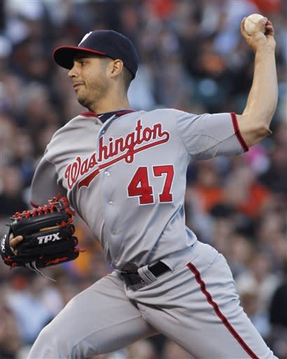 Washington Nationals pitcher Gio Gonzalez throws to the San Francisco Giants during the first inning of a baseball game, Monday, Aug. 13, 2012 in San Francisco, Calif. (AP Photo/George Nikitin)