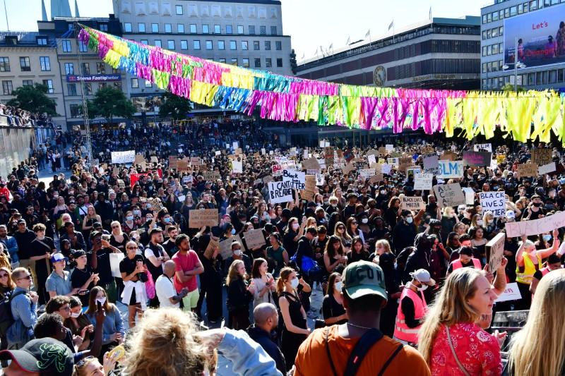 Protest in solidarity with the Black Lives Matter movement, in Stockholm