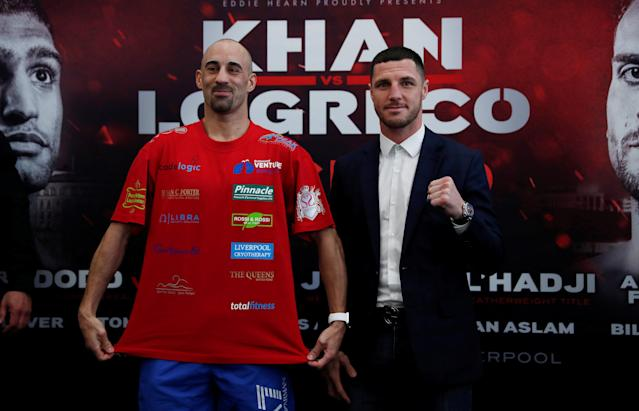 Boxing - Amir Khan & Phil Lo Greco Press Conference - Royal Liver Building, Liverpool, Britain - April 19, 2018 Sean Dodd and Tommy Coyle pose after the press conference Action Images via Reuters/Andrew Couldridge