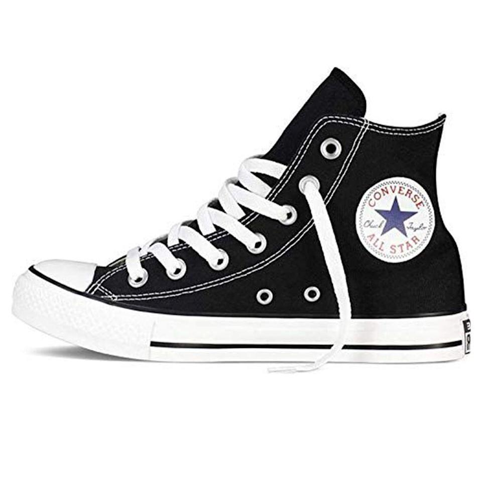"""<p><strong>Converse</strong></p><p>amazon.com</p><p><strong>$89.89</strong></p><p><a href=""""https://www.amazon.com/dp/B000OLRWR4?tag=syn-yahoo-20&ascsubtag=%5Bartid%7C2139.g.36007474%5Bsrc%7Cyahoo-us"""" rel=""""nofollow noopener"""" target=""""_blank"""" data-ylk=""""slk:BUY IT HERE"""" class=""""link rapid-noclick-resp"""">BUY IT HERE</a></p><p>We've established that Amazon is a great place to find all the classics, and simply put, nothing is more classic than high-top Chucks. As any devoted Converse fan knows, they tend to run large, so go down a half-size when ordering. </p>"""