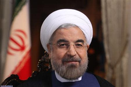 Iranian President Hassan Rouhani is pictured during an interview with U.S. television network NBC in Tehran