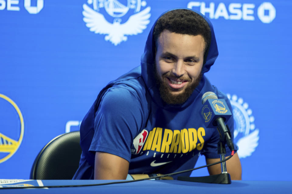 Golden State Warriors' Stephen Curry gives a press conference before an NBA basketball game against the Utah Jazz in San Francisco, Monday, Nov. 11, 2019. (AP Photo/John Hefti)