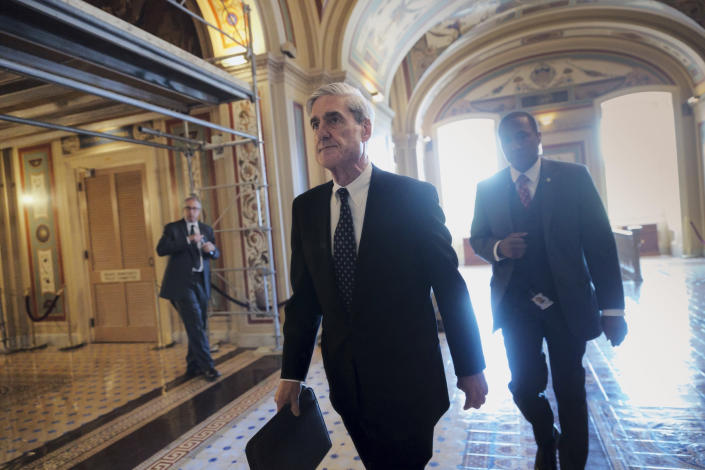 Special counsel Robert Mueller departs after a closed-door meeting with members of the Senate Judiciary Committee about Russian meddling in the election at the Capitol in Washington in 2017. (AP Photo/J. Scott Applewhite)