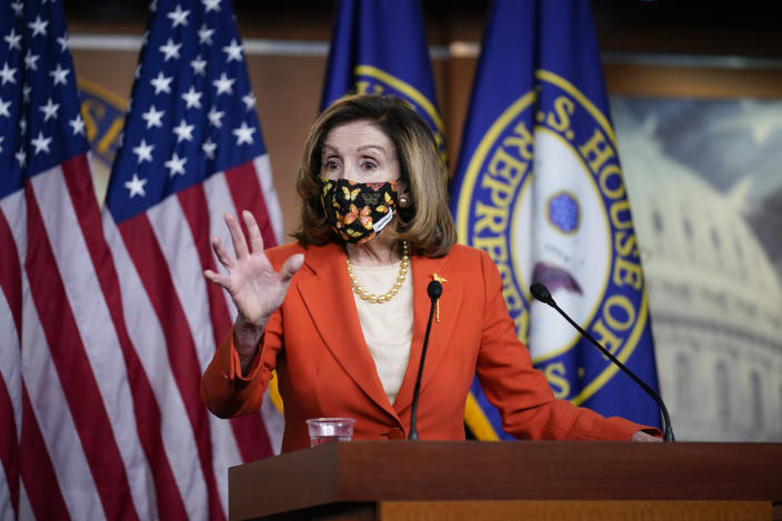 After leading the second impeachment of President Donald Trump this week, Speaker of the House Nancy Pelosi, D-Calif., holds a news conference at the Capitol in Washington, Friday, Jan. 15, 2021. Pelosi and House Democrats, joined by a few Republicans, delivered the historic rebuke of Trump for his incitement of the mob that attacked the Capitol on Jan. 6, 2021. (AP Photo/J. Scott Applewhite)