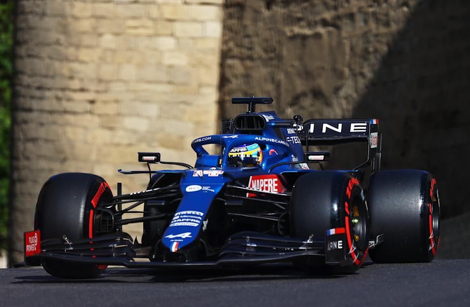 BAKU, AZERBAIJAN - JUNE 05: Fernando Alonso of Spain driving the (14) Alpine A521 Renault on track during qualifying ahead of the F1 Grand Prix of Azerbaijan at Baku City Circuit on June 05, 2021 in Baku, Azerbaijan. (Photo by Francois Nel/Getty Images)