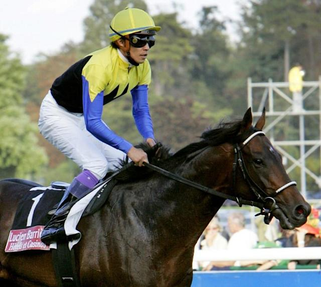 Deep Impact, ridden here by Yutaka Take, was one of Japan's most successful racehorses. (AFP Photo/BERTRAND GUAY)