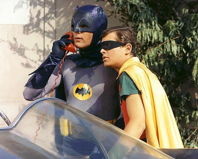 Adam West as Batman/Bruce Wayne and Burt Ward as Robin/Dick Grayson in 'Batman' (Photo Credit: Silver Screen Collection/Getty Images)