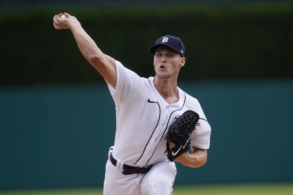 Detroit Tigers pitcher Matt Manning throws against the St. Louis Cardinals in the first inning of a baseball game in Detroit, Wednesday, June 23, 2021. (AP Photo/Paul Sancya)
