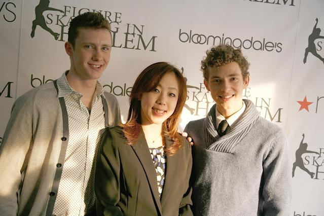 <p>(L to R) Jeremy Abbott, Fumie Suguri and Adam Rippon attend the 2011 Skating With the Stars Gala in New York City.<br>(Photo by Andy Kropa/Getty Images) </p>
