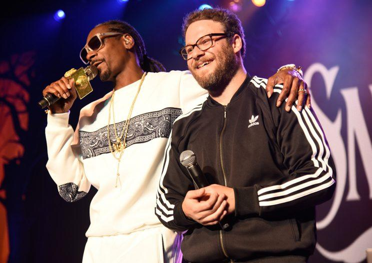 You can always count on Snoop Dogg (with Seth Rogen) to get the party started. (Photo: Jeff Vespa/Getty Images)