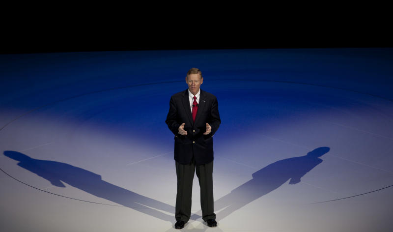 FILE- In this Thursday, Sept. 6, 2012, file photo, Alan Mulally, President and CEO of Ford Motor Company, gestures during a presentation of fresh Ford models in Amsterdam, Netherlands. Mulally, 67, joined Ford six years ago and appears close to retirement. Reports say he'll step down at the end of next year. Ford's board likely will discuss succession plans at a meeting Thursday, Sept. 13, 2012. (AP Photo/Peter Dejong, File)