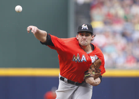 Marlins starting pitcher Eovaldi throws in the first inning against the Braves at their MLB National League baseball game at Turner Field in Atlanta