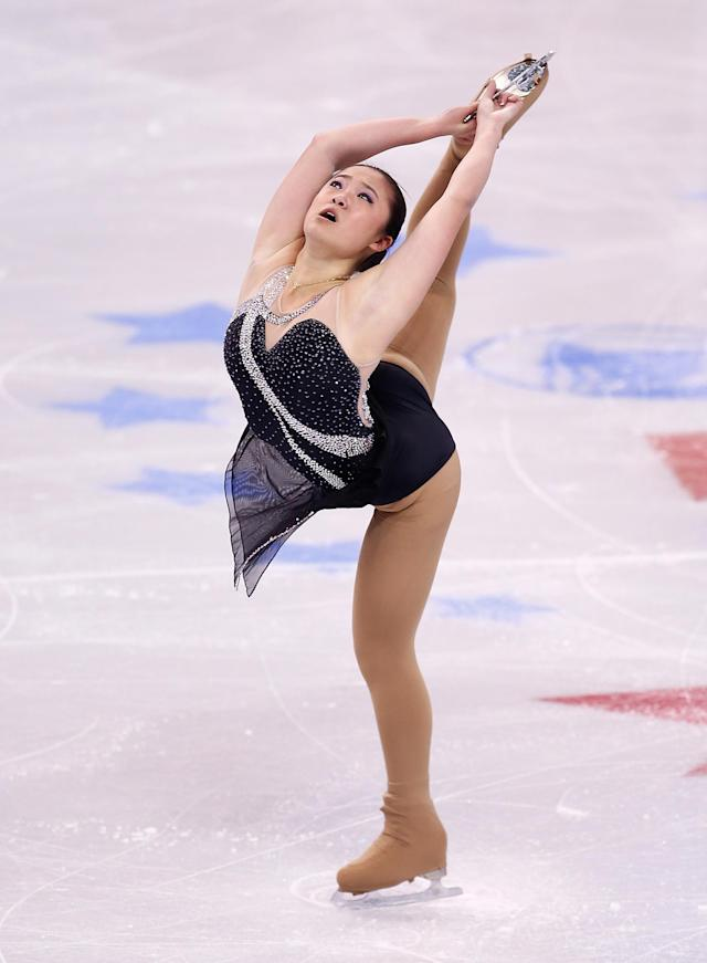 BOSTON, MA - JANUARY 09: Caroline Zhang skates in the short program during the 2014 Prudential U.S. Figure Skating Championships at TD Garden on January 9, 2014 in Boston, Massachusetts. (Photo by Jared Wickerham/Getty Images)