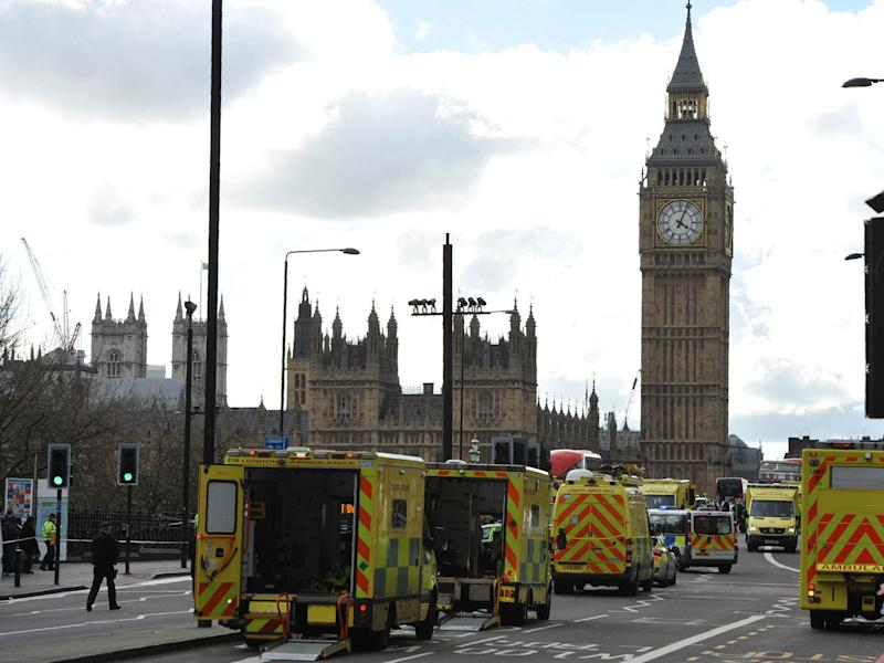 Ambulances line Westminster Bridge after Parliament was put on lockdown on Wednesday afternoon: Getty