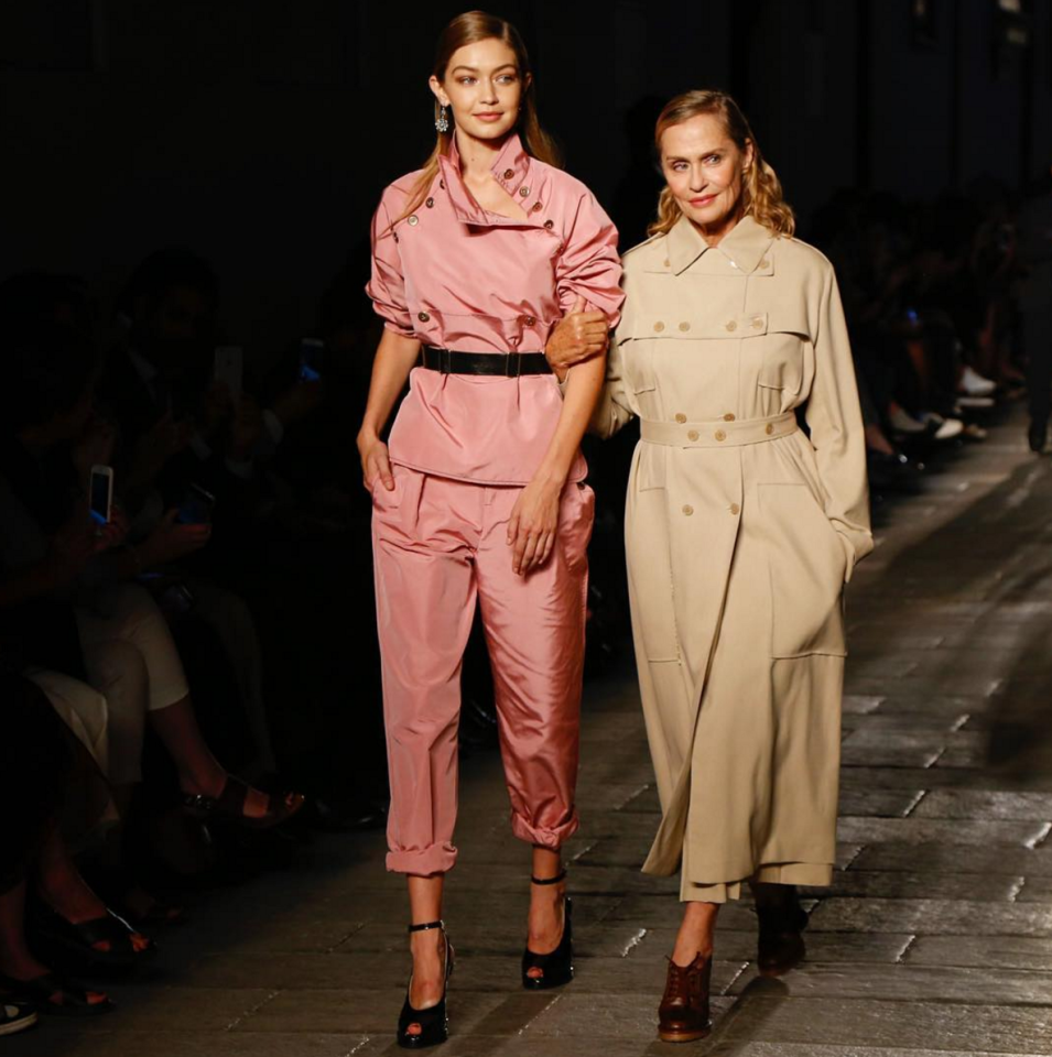 <p>Two generations walked the Bottega Veneta show in celebration of the brand's 50th anniversary. <i>[Photo: Instagram/kcdworldwide]</i></p>