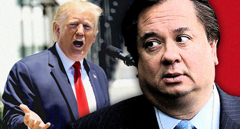 President Trump and George T. Conway III. (Photo illustration: Yahoo News; photos: Kevin Lamarque/Reuters, Chip Somodevilla/Getty Images)