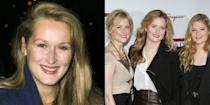 <p>At 30 years old, Meryl Streep wasn't the Meryl Street we know today. She had just made her big screen debut two years prior. Her daughters Mamie (left at 32) and Grace (center at 29) are also actors, while Louisa (right at 24) is pursuing a modeling career.</p>