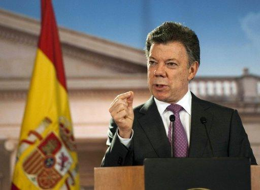 Colombian President Juan Manuel Santos, pictured at Narino presidential palace in Bogota on April 19