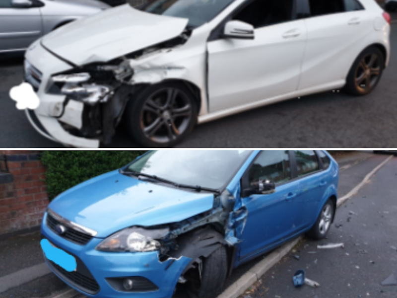 The aftermath of a crash involving a Mercedes and Ford Focus: Knowsley Police