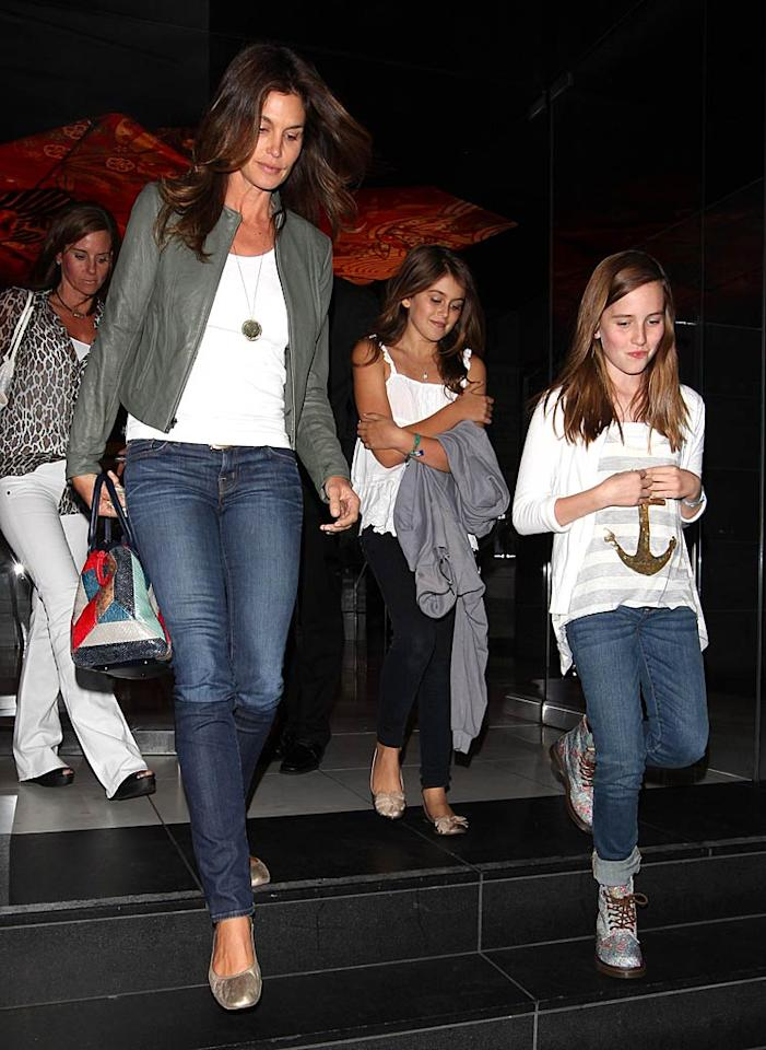 """Cindy Crawford took daughter Kaia, 9, and friends to dinner at trendy eatery Katsuya in West Hollywood. What a cool mom! <a href=""""http://www.infdaily.com"""" target=""""new"""">INFDaily.com</a> - June 1, 2011"""