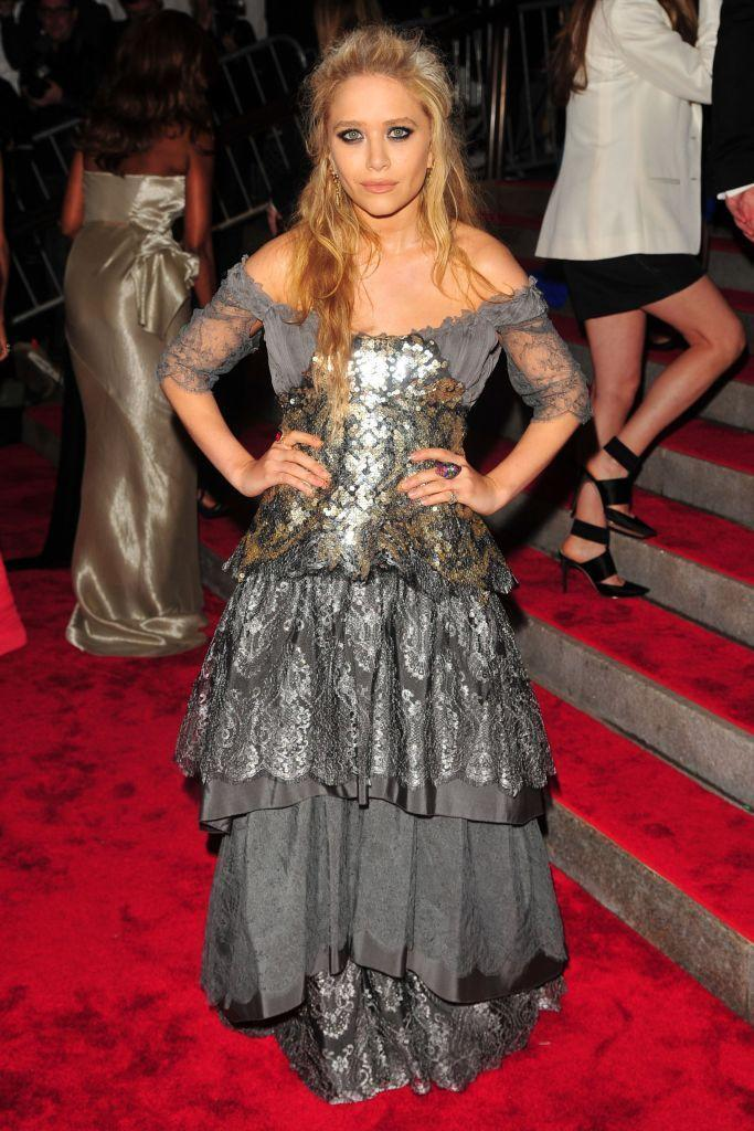 <p>The New York Minute star wore vintage Christian LaCroix to the 2009 Met Gala.</p>
