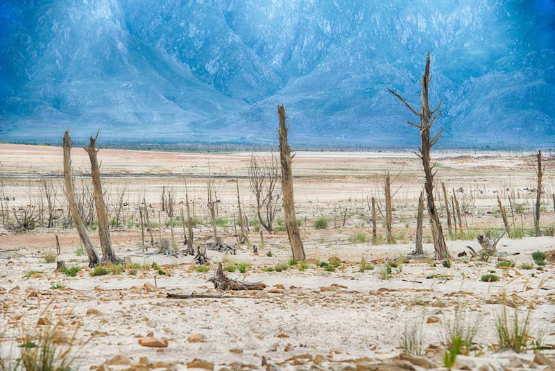 Cape Town's main dam at Theewaterskloof was only at 10% capacity on April 3, 2018. The city came perilously close to Day Zero, where there would have been barely enough water to keep critical services running. (Photo: John Snelling via Getty Images)