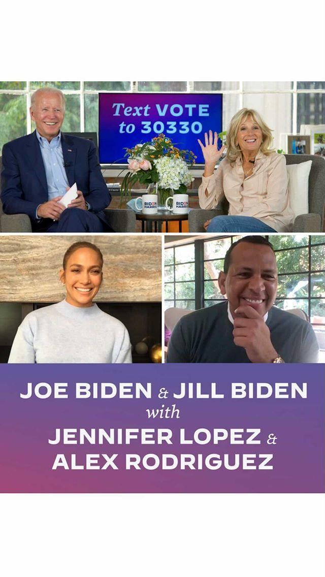 "<p>The couple joined a virtual talk with Biden and Dr Jill Biden to discuss a number of issues including empowering and protecting the Latina community. Lopez has encouraged her fellow Latinas to vote, saying: 'Join me in getting loud. Your voice is your vote.'</p><p><a href=""https://www.instagram.com/p/CGaJ2VrJT6_/"" rel=""nofollow noopener"" target=""_blank"" data-ylk=""slk:See the original post on Instagram"" class=""link rapid-noclick-resp"">See the original post on Instagram</a></p>"