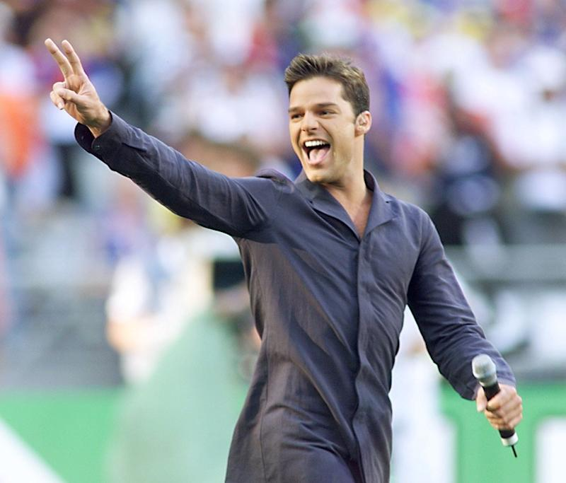 Ricky Martin in july 1998 singing in the World Cup during Brazil's final match against France.
