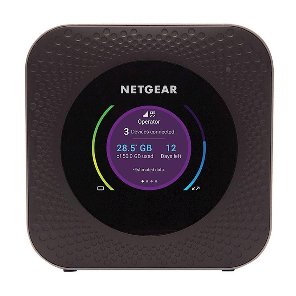 """<p><strong>NETGEAR</strong></p><p>amazon.com</p><p><strong>$271.71</strong></p><p><a href=""""https://www.amazon.com/dp/B07G5KWZ3H?tag=syn-yahoo-20&ascsubtag=%5Bartid%7C2089.g.1336%5Bsrc%7Cyahoo-us"""" rel=""""nofollow noopener"""" target=""""_blank"""" data-ylk=""""slk:Shop Now"""" class=""""link rapid-noclick-resp"""">Shop Now</a></p><p>If you want to use a Wi-Fi hotspot on AT&T's network, we recommend going with this one from Netgear. It's capable of hosting up to 20 devices via 2.4 GHz and 5 GHz Wi-Fi, up to the 802.11ac specification.</p><p>It's equipped with a 5,040 maH battery that lasts for a day, and when the hotspot dies, it recharges quickly because it's compatible with Qualcomm Quick Charge 2.0.<br></p><p>It's one of the few hotspots that has a built-in Ethernet port, which you can use for offloading your traffic to limit your cellular usage. Like Verizon's hotspot, it has a USB port for charging other devices, but this one has a full-sized port, compared to Verizon's USB-C port. Its USB port can also be used to connect an external hard drive or thumb drive to share files to connected devices.</p><p>Netgear has a <a href=""""https://go.redirectingat.com?id=74968X1596630&url=https%3A%2F%2Fitunes.apple.com%2Fus%2Fapp%2Fnetgear-mobile%2Fid457698895%3Fmt%3D8&sref=https%3A%2F%2Fwww.bestproducts.com%2Ftech%2Fgadgets%2Fg1336%2Fportable-mobile-wifi-hotspots%2F"""" rel=""""nofollow noopener"""" target=""""_blank"""" data-ylk=""""slk:complementary app"""" class=""""link rapid-noclick-resp"""">complementary app</a> that lets you manage the Wi-Fi connections for all of your devices, adjust settings, check usage, and view media files.</p>"""