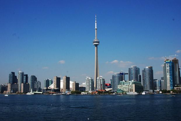 The CN Tower is seen along the Toronto skyline from Centre Island.