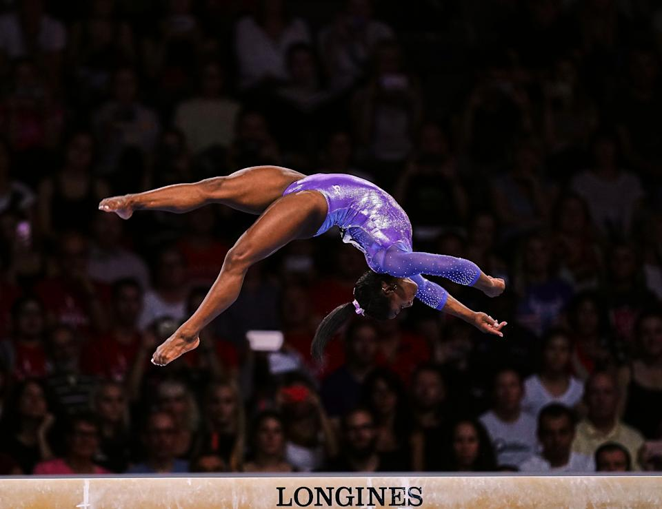 Simone Biles of United States of America  during balance beam for women at the 49th FIG Artistic Gymnastics World Championships in  Hanns Martin Schleyer Halle in Stuttgart, Germany on October 13, 2019. (Photo by Ulrik Pedersen/NurPhoto via Getty Images)