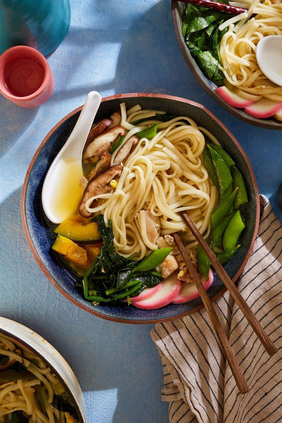 """<p>We love dishes high in flavor, low in commitment. And if it comes together in one pot? All in! Nabeyaki udon is a one-pot Japanese noodle soup that is just this. </p><p>Get the recipe from <a href=""""https://www.delish.com/cooking/recipe-ideas/a35047520/nabeyaki-udon-recipe/"""" rel=""""nofollow noopener"""" target=""""_blank"""" data-ylk=""""slk:Delish"""" class=""""link rapid-noclick-resp"""">Delish</a>.</p>"""