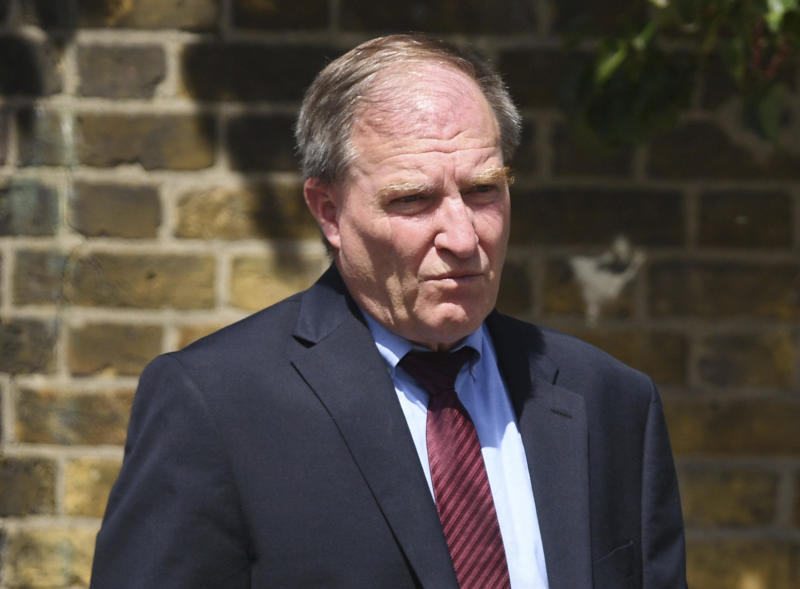 American political consultant, Samuel Pimm at Ealing Magistrates' Court in London Monday Aug. 6, 2018, where he was found guilty of assaulting a passenger on a transatlantic flight.  62-year old political consultant, Pimm, who worked on Ben Carson's 2016 presidential campaign, was found guilty of groping a fellow passenger on a trans-Atlantic flight last month. (Stefan Rousseau/PA Wire(/PA via AP)