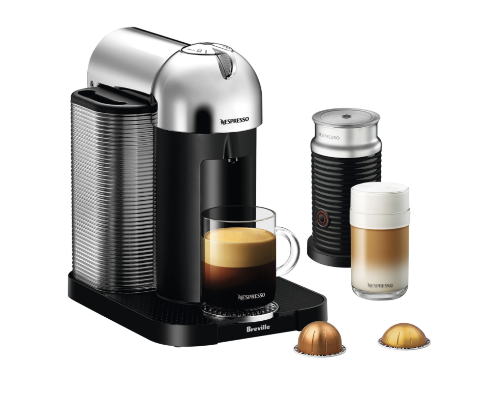 Nespresso Vertuo Machine by Breville with Aeroccino Milk Frother. Image via Best Buy.