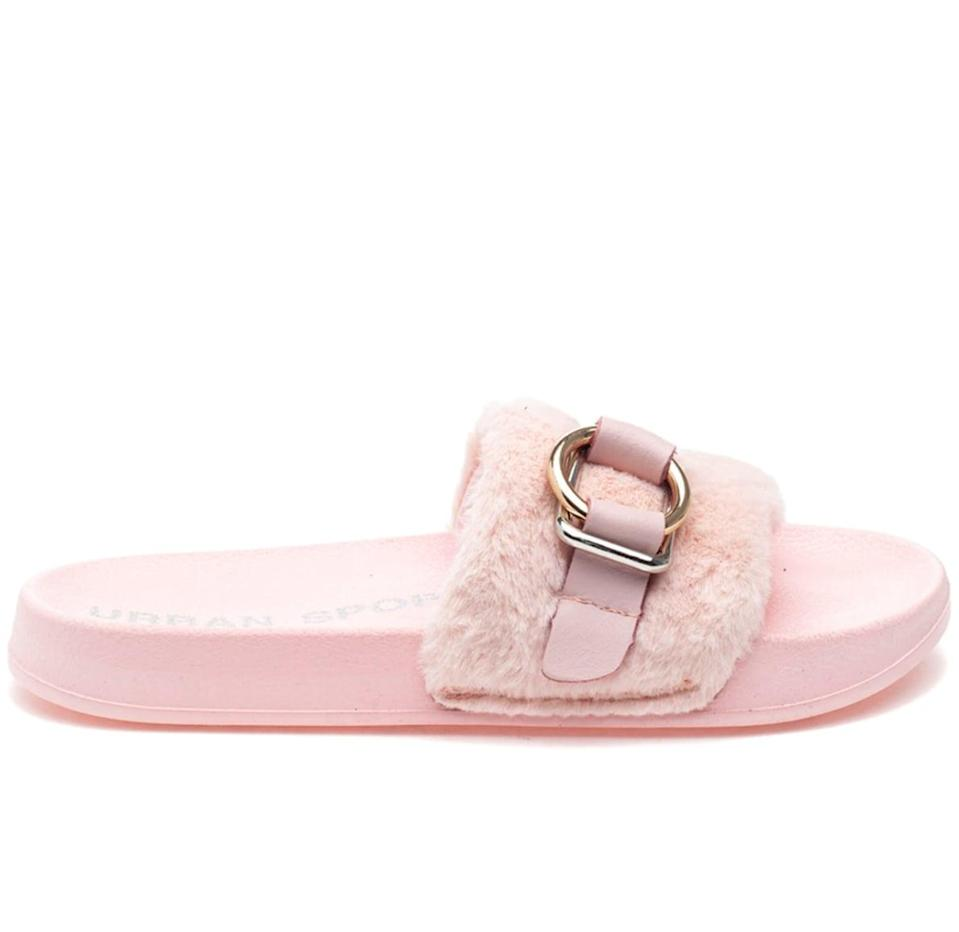 <p>With a bouncy rubber sole, this <span>J/Slides Bravo Pink Eva</span> ($49) can be worn anywhere, from the living room to the pool. </p>