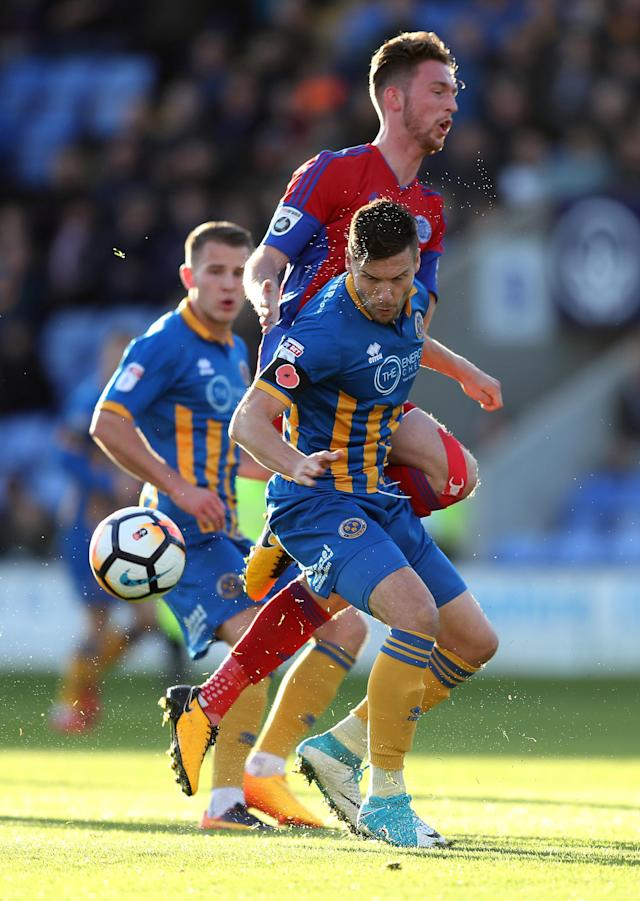 Soccer Football - FA Cup First Round - Shrewsbury Town vs Aldershot Town - New Meadow, Shrewsbury, Britain - November 4, 2017 Shrewsbury Town's Matthew Sadler in action with Aldershot Town's Jim Kellermann Action Images/John Clifton