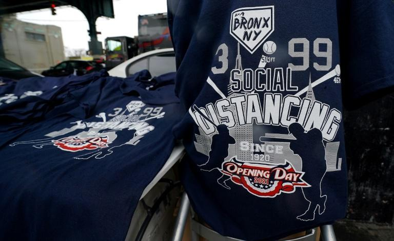 T-shirts for sale at Yankee Stadium referred to the coronavirus pandemic
