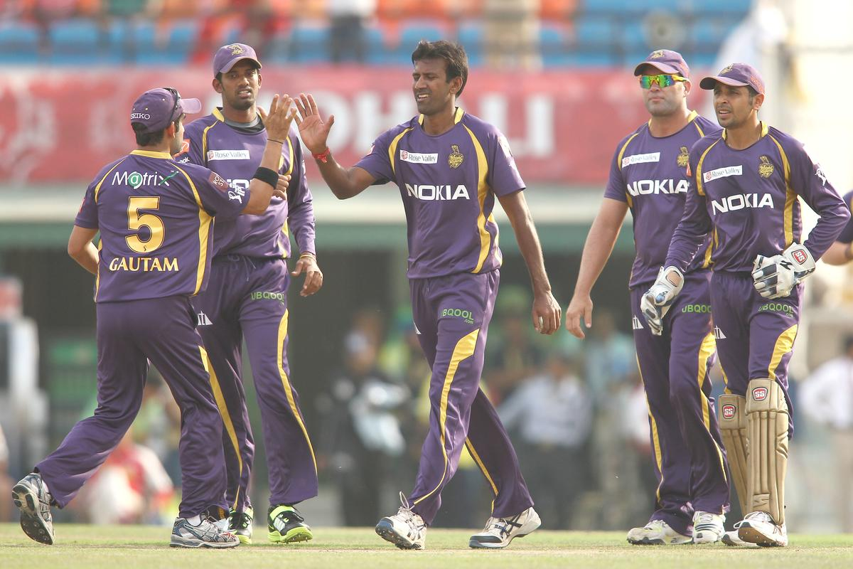 Kolkata Knight Riders captain Gautam Gambhir congratulates Lakshmipathy Balaji of Kolkata Knight Riders for getting Manan Vohra of Kings XI Punjab wicket during match 20 of the Pepsi Indian Premier League between The Kings XI Punjab and the Kolkata Knight Riders held at the PCA Stadium, Mohal, India  on the 16th April 2013..Photo by Shaun Roy-IPL-SPORTZPICS  ..Use of this image is subject to the terms and conditions as outlined by the BCCI. These terms can be found by following this link:..https://ec.yimg.com/ec?url=http%3a%2f%2fwww.sportzpics.co.za%2fimage%2fI0000SoRagM2cIEc&t=1506093953&sig=h_rdeEHEqpaNGkFVoIpjmg--~D